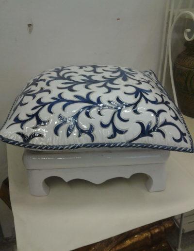 art.2084 sedile cuscino decoro arabescato blu
